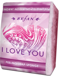 I Love you Peeling-esponja con jabón